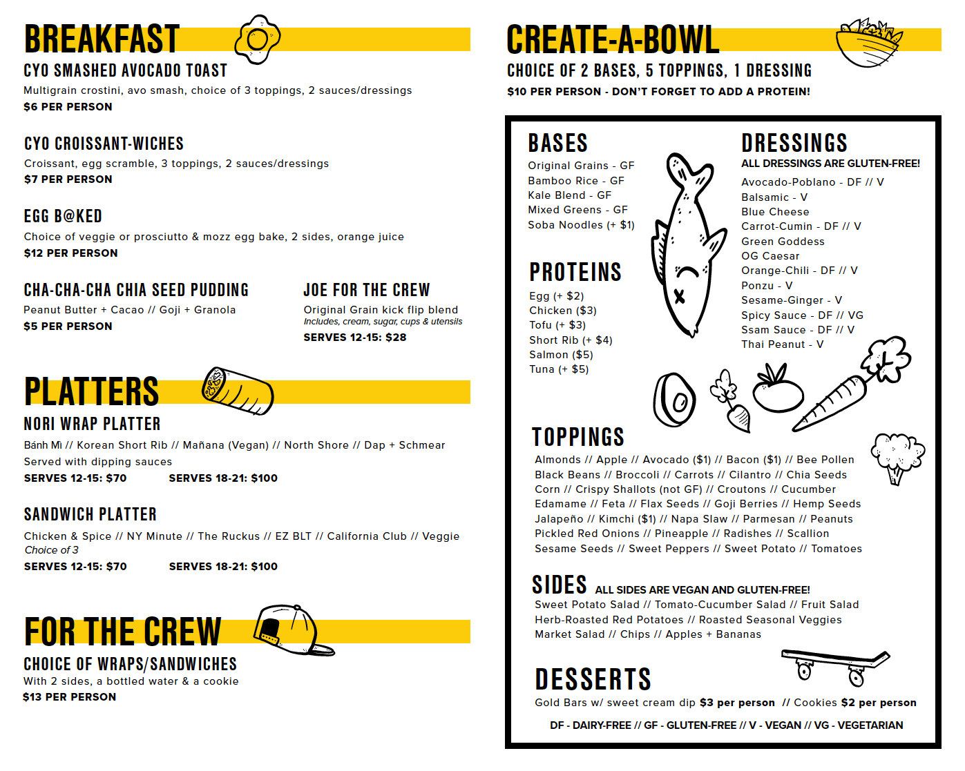 Inside Page of Catering Menu